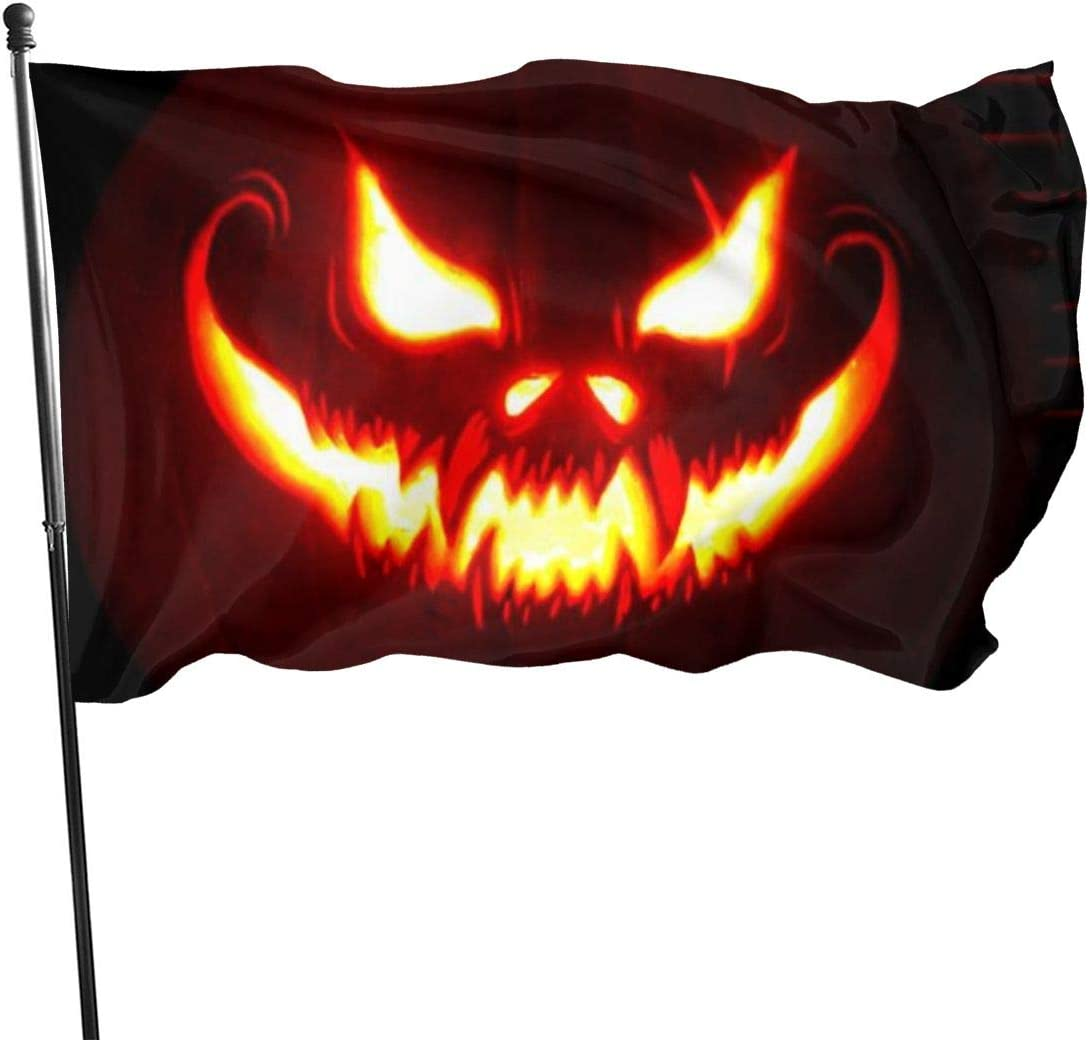 YASLNVT Custom Garden Flag Personalized Decorative House Flags-Big Scary Smile Pumpkin Outdoor Seasonal and Holiday Yard Flag Banner 3x5 Ft (90x150cm)