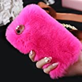 For iPhone 6s Plus Case [5.5inch], Gotd Luxury Crystal Bling Fluffy Villi Fur Plush Wool Design Protective Case Cover for iPhone 6 Plus & iPhone 6S Plus 5.5'' (Hot Pink)