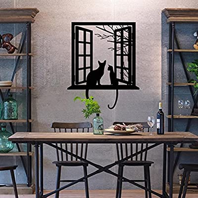 BIBITIME Tree Branch Fake Window Black Cats Wall Art Stickers for Bedroom Living Room Coffee Shop Vinyl Decals Nursery Bedroom Kids Room Decor 16.92