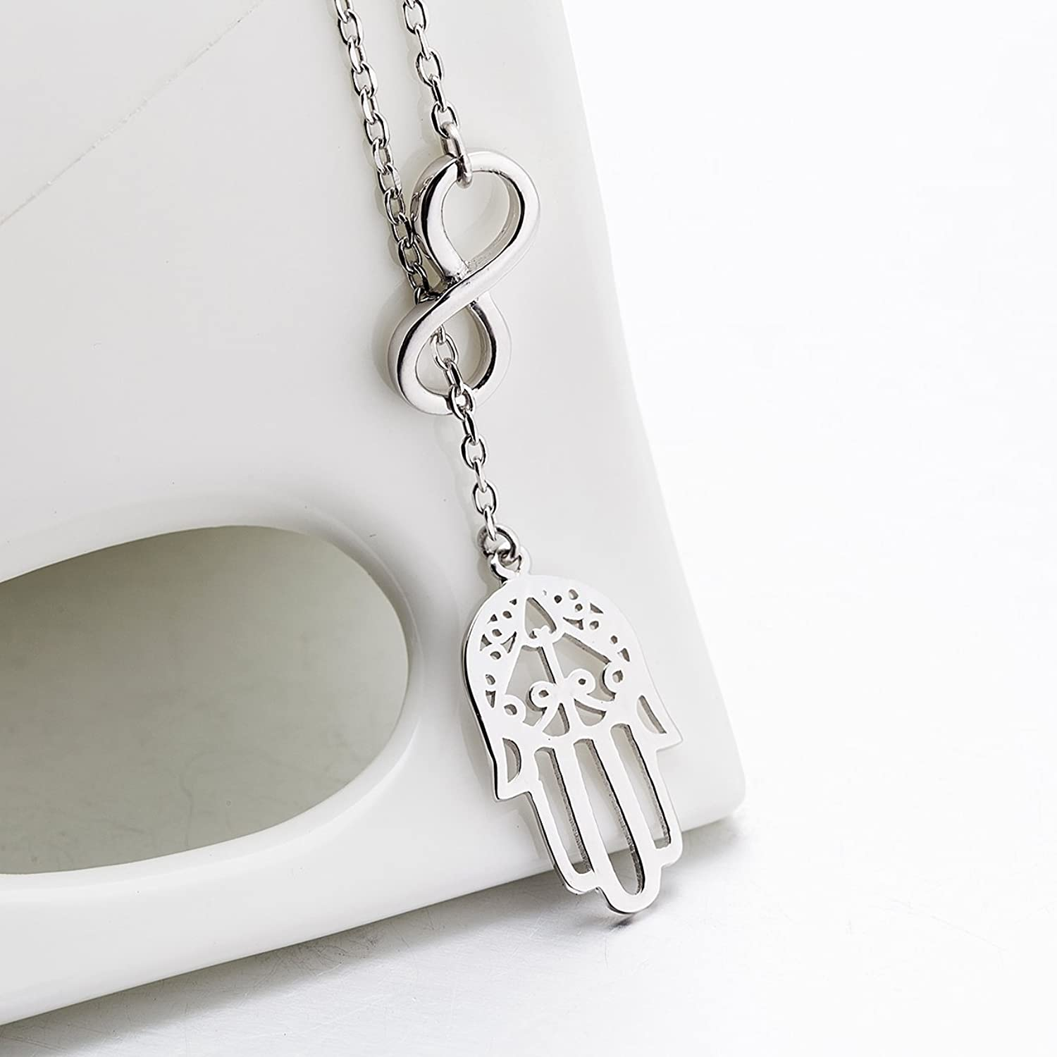 Silver mountain 925 sterling silver infinity good luck hamsa fatima silver mountain 925 sterling silver infinity good luck hamsa fatima hand pendant necklace with 175 rolo chain amazon jewellery aloadofball Images