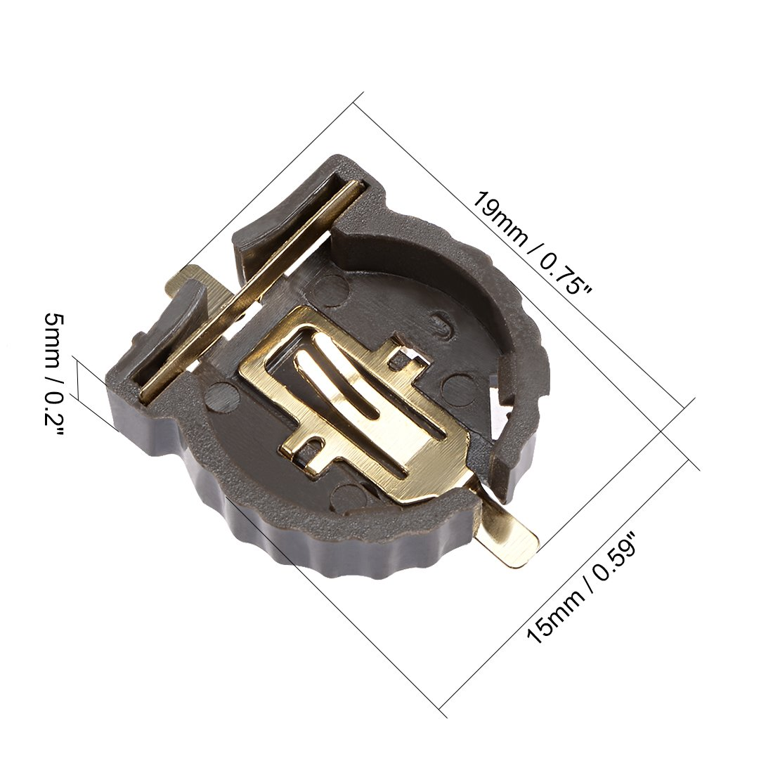 sourcing map 5Pcs CR1220 Horizontal Coin Button Battery Holder Brown Container Case
