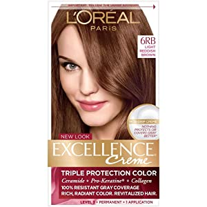 L'Oreal Excellence Creme Triple Protection Hair Color, Light Reddish Brown (Warmer) [6RB] 1 Each (Pack of 2)