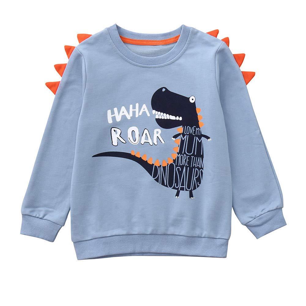 Ropa Recien Nacido Otoño Invierno, Zolimx Bebe Niños Chicos Niñas Manga Larga Dibujos de Dinosaurios Letra Impresa Tops Blusas y Camisas Superior