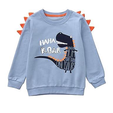 Ropa Recien Nacido Otoño Invierno, Zolimx Bebe Niños Chicos Niñas Manga Larga Dibujos de Dinosaurios Letra Impresa Tops Blusas y Camisas Superior: ...