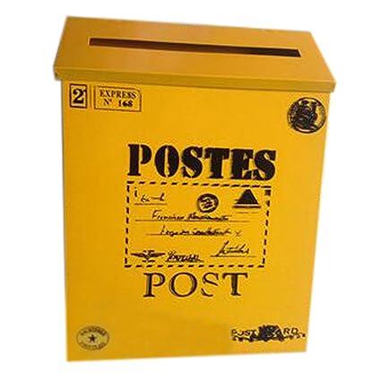 Carta Buzón de correos montado en la pared impermeable buzón con caja (, amarillo gran