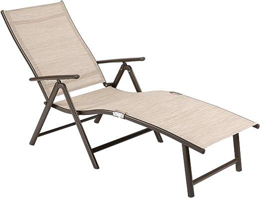 Tumbona de Ouman, silla de jardín ajustable, tumbona plegable de aluminio, ligera, estable para terraza, balcón, camping, festival, beige: Amazon.es: Jardín