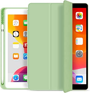 KenKe iPad 7th/8th Gen Case with Pencil Holder,iPad 10.2 inch Lightweight Smart Cover Soft TPU Back,Auto Sleep/Wake for 10.2 New iPad 8th Generation Case 2020 iPad 7th Generation Case 2019 -Green