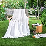HollyHOME Washable Knitted Throw Blanket with Tassels, Lightweight and Soft for Daily Use, 50 x 60 inch, Antique White