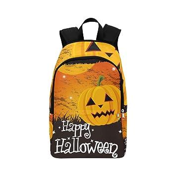 Feliz Tarjeta de Halloween Mensaje de Calabaza Mochila Casual Bolsa de Viaje Mochila Escolar para Hombres y Mujeres: Amazon.es: Equipaje