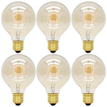 Lumineux Blanc 400lm 220v Ampoule Vintage 6x 4w E27 Chaud Dimmable Tres Ac Lampe G80 Edison À Filament Led nk80wOPX