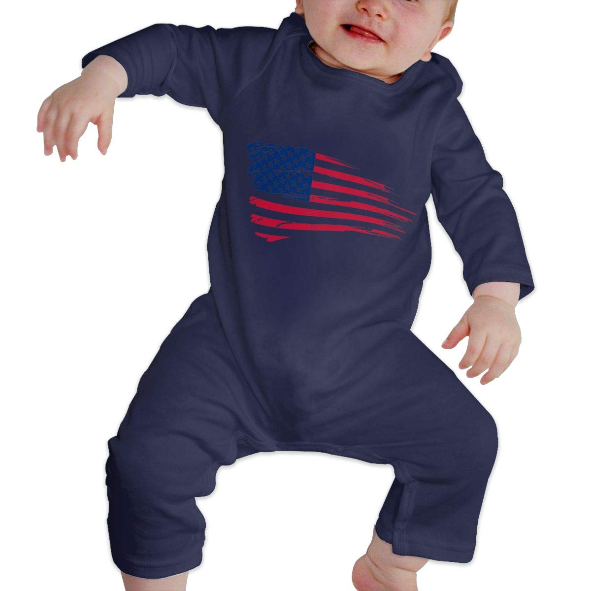 LBJQ8 American Flag Newborn Kids Baby Boys Organic Cotton Romper Jumpsuit Bodysuit