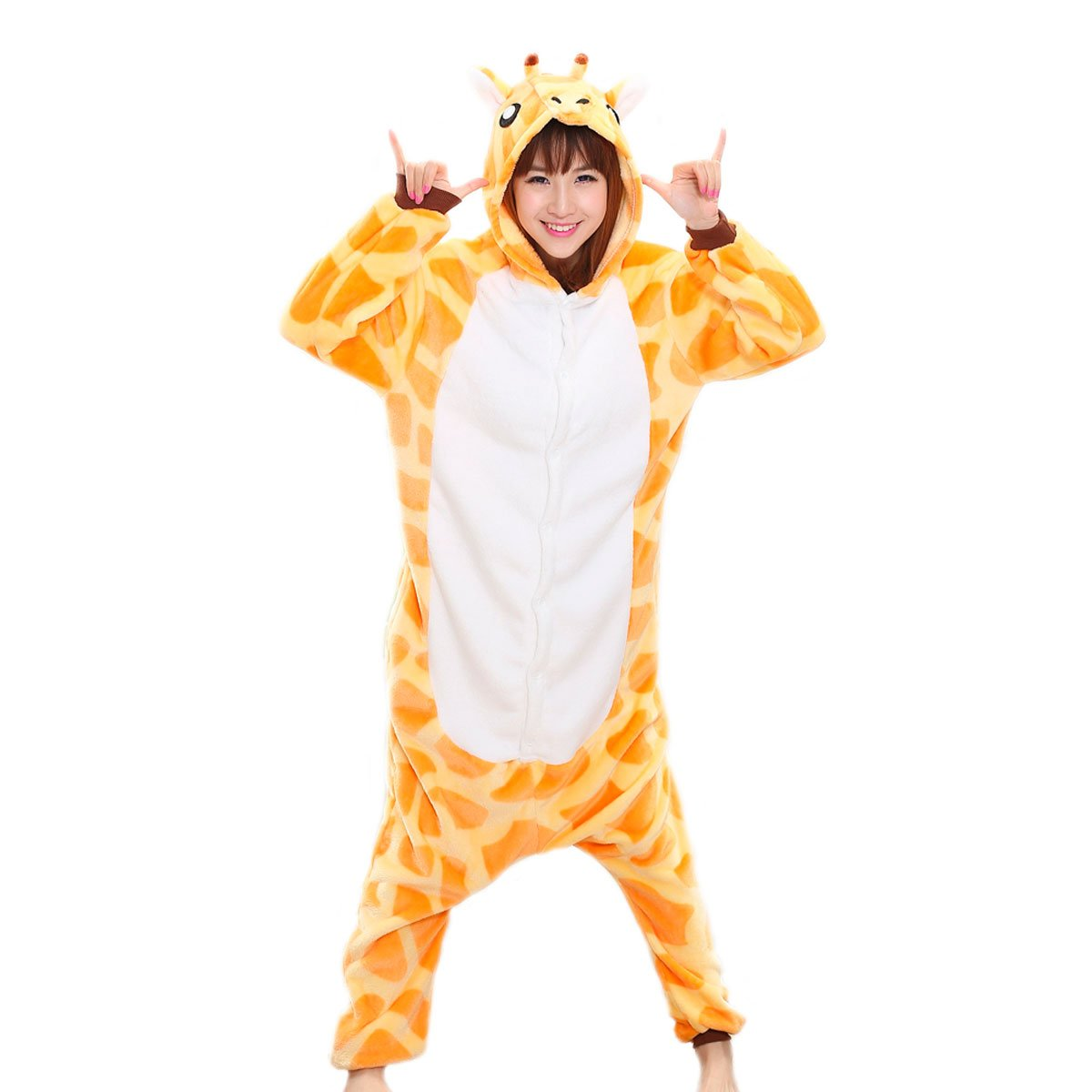 Adrinfly One-Piece Hooded Pajamas Unisex Costume Adult Animal Onesie Giraffe Cosplay