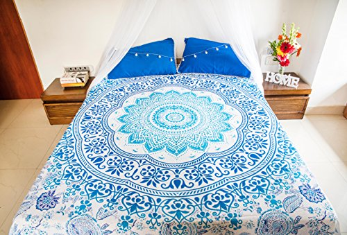 (Blissful Blue Mandala Tapestry Bedding with Pillow Covers, Indian Bohemian Wall Hanging, Picnic Blanket or Hippie Beach Throw, Hippy Ombre Tapestry Bedspread for Bedroom, Full Size Boho Spread Set)