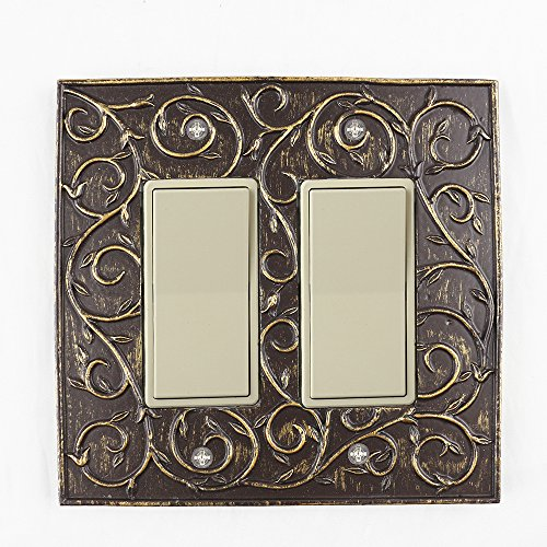 French Bronze (Meriville French Scroll 2 Rocker Wallplate, Double Switch Electrical Cover Plate, Bronze)