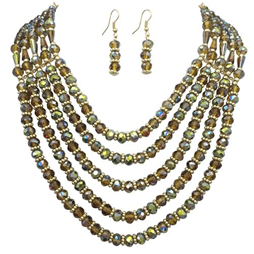 5 Row Layered Beveled Glass Beaded Boutique Style Necklace And Dangle Earrings Set (Brown & Olive Green)