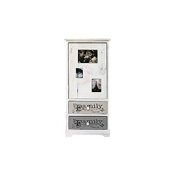 Rebecca Mobili Armoire Petit Espace Avec Cadre Photos, Meuble De Rangement  Avec 1 Porte