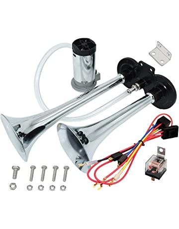 MIRKOO 12V 150dB Car Air Horn Kit, Super Loud Twin Tone Chrome Plated Zinc Dual