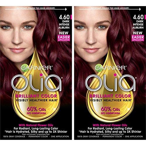 Garnier Hair Color Olia Oil Powered Permanent, 4.60 Dark Intense Auburn, 2 - Garnier Auburn Hair Color
