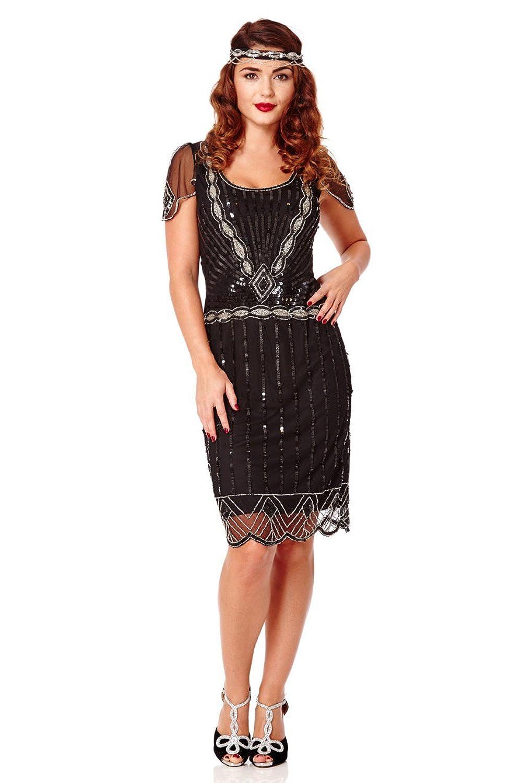 Gatsbylady Eva 1920's Vintage Inspired Flapper Dress in Black