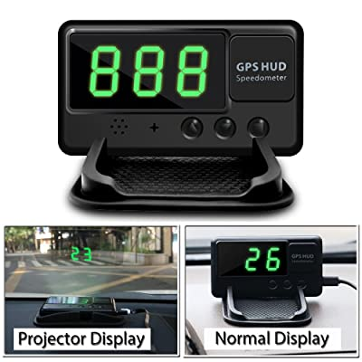 VJOYCAR C60 Hud Car GPS Speedometer, Digital Head Up Display Windshiled Projector MPH KM/H Over Speeding Alarm, 100% Universal for All Vehicle Car Bus Truck Bike Scooter ATV UTV [5Bkhe0800542]
