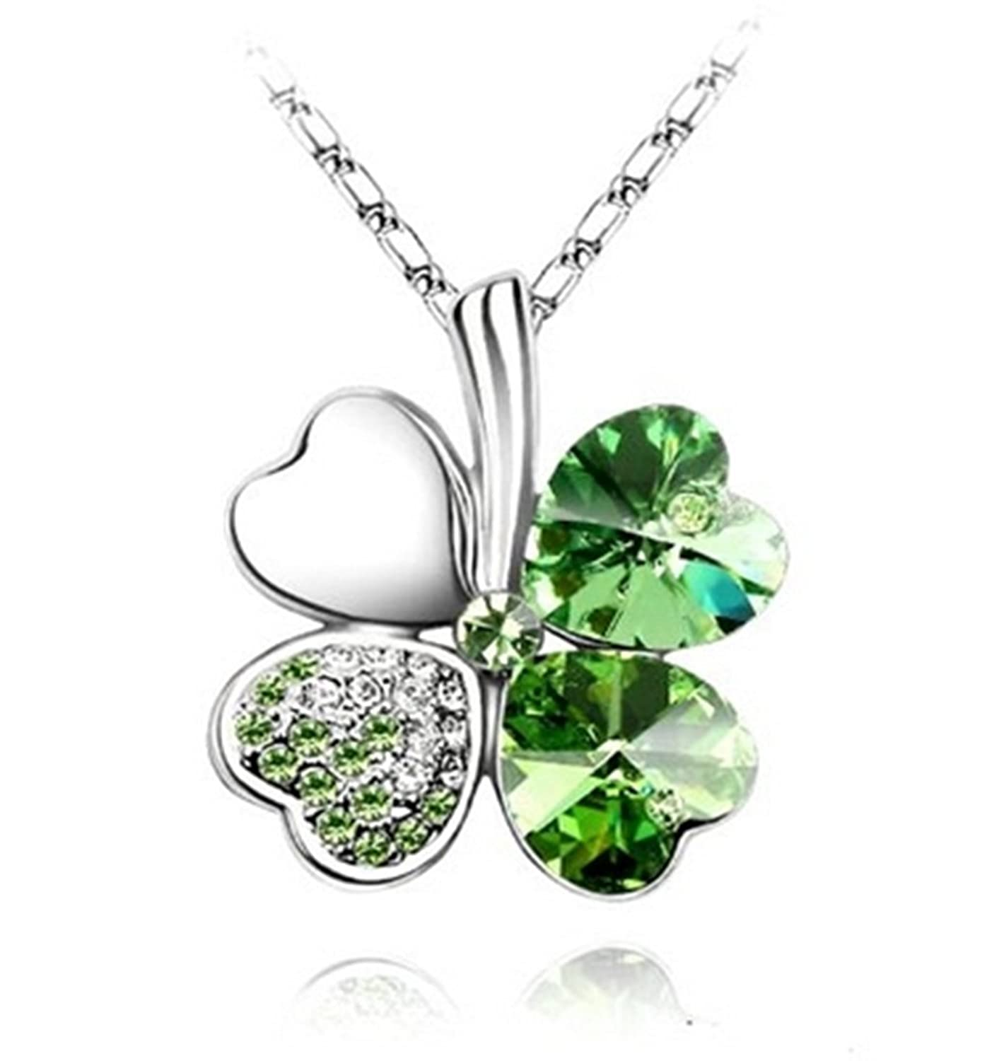 Green lucky shamrock necklace four leaf clover charm emerald green - Sheclub Green Crystal Four Leaf Clover Heart Shape Pendant Swarovski Elements Necklace With 18 Chain Amazon Co Uk Jewellery