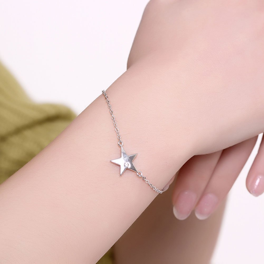 7 Length,LSCB03 925 Sterling Silver Fashion Five-pointed Star Link Charm Bracelet for Girl