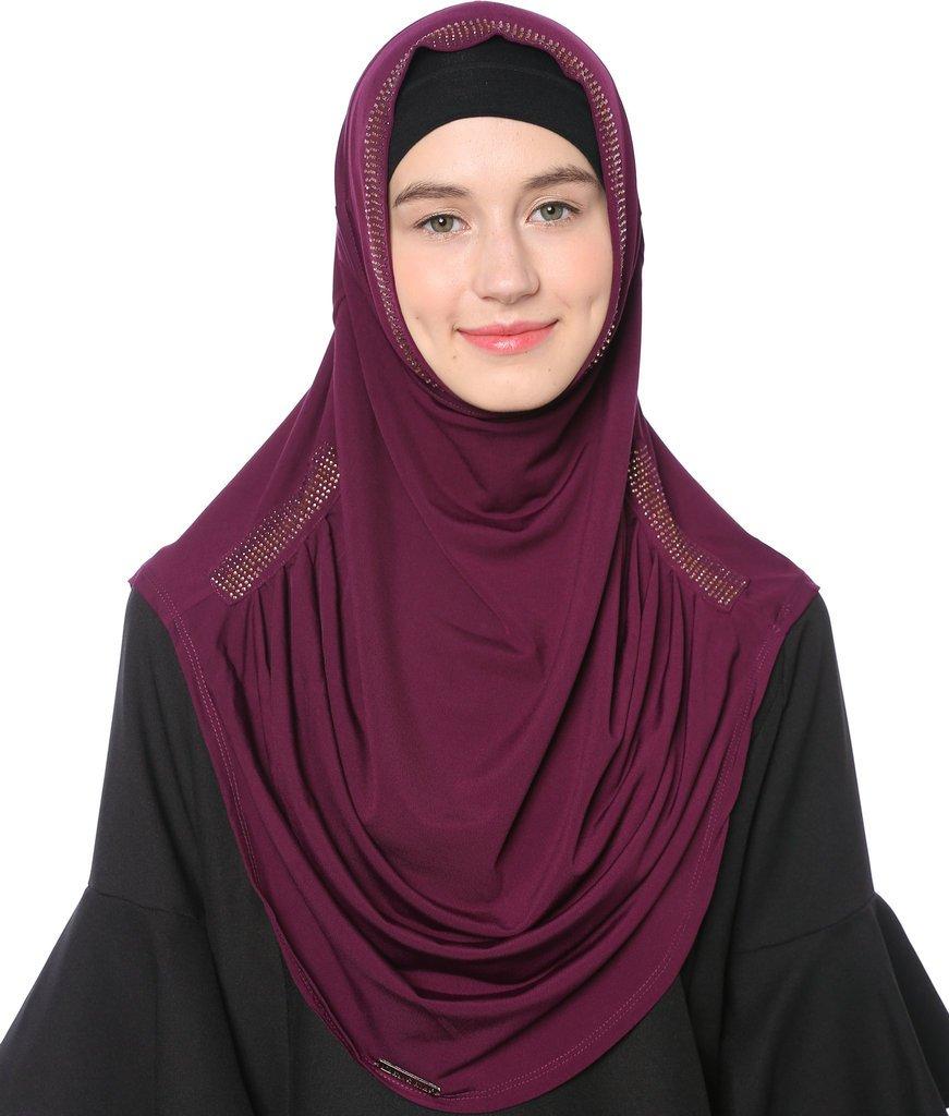 Ababalaya Women's Muslim Rhinestones Solid Jersey Headscarf Instant Hijab Ready to Wear Hijab,Dark Purple