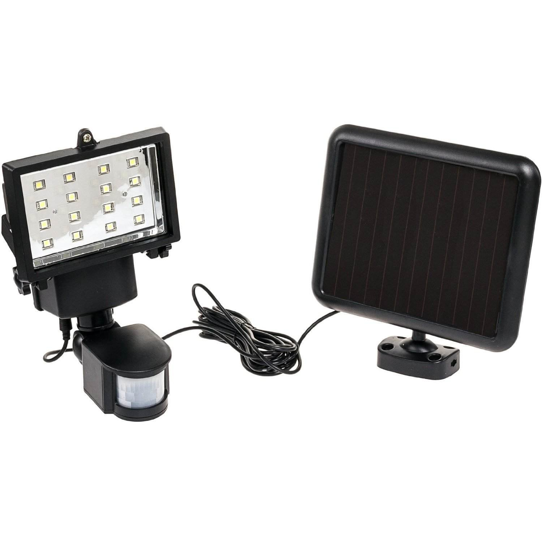 16 LED Solar Powered Security Motion Sensor Flood Light (Black)