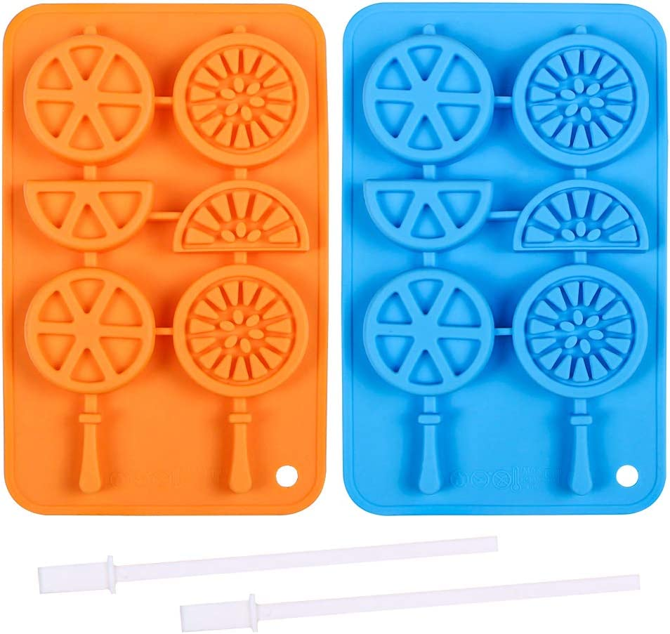 Webake Ice Cube Trays Silicone Ice Cube Popsicle Molds with Sticks, 2 Pack Fruit Shape Chocolate Candy Molds, Wax Crayon Mold