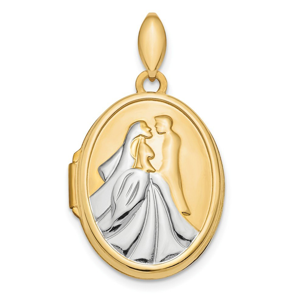 14k Yellow Gold /& Rhodium Polished Bride and Groom Oval Locket 21 mm