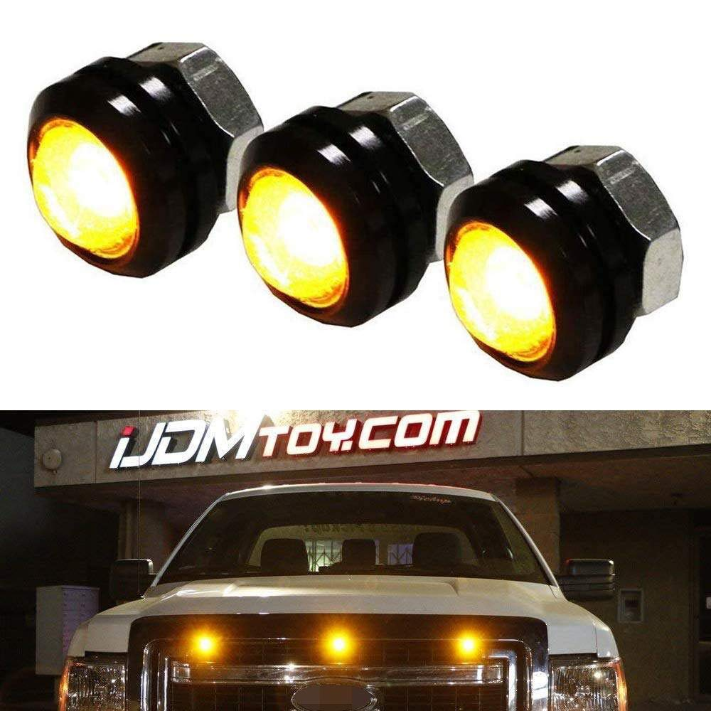 iJDMTOY SVT Raptor Style Amber LED Grille Lighting Kit Universal Fit For Truck or SUV, 3-Piece High Power Amber Yellow Grill Marker Light Set by iJDMTOY