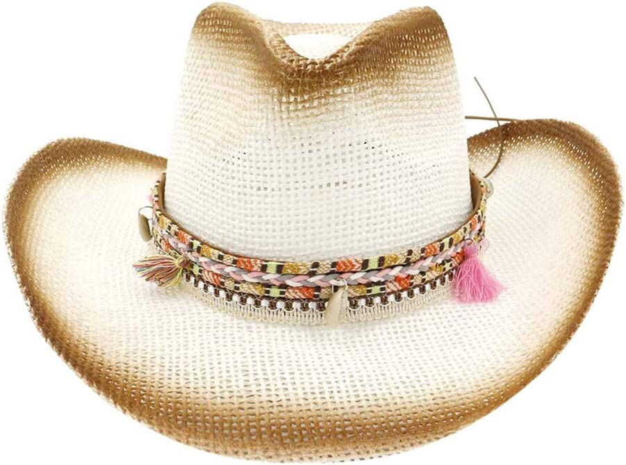 Shmei Womens Woven Wide Brim Western Straw Cowboy Hat with Decorative Band Summer Beach Sun Hat Beige