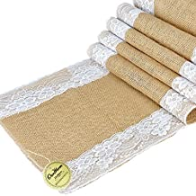 OurWarm 12 x 108 Inch Burlap Table Runner Natural Jute Country Outdoor Wedding Party Decoration