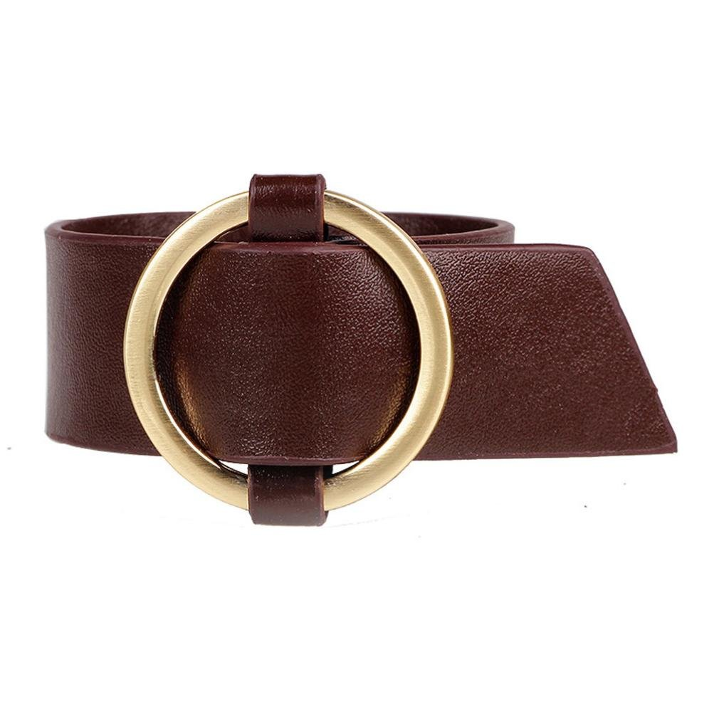 Swyss Women Leather Belt Bracelet Punk Cool Round Wide Bangle Cuff Wristband Charm Jewelry Gift New Hot Fashion (Brown)