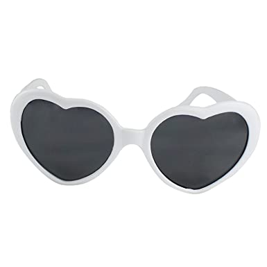 d8b24c98d5c739 Forme De Coeur Amour Eté Mode Rétro Classique Lunettes De Soleil Lolita  (Blanc)  Amazon.fr  Vêtements et accessoires