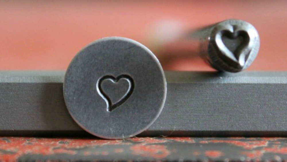 SUPPLY GUY 5mm Single Metal Punch Design Stamp: Hearts, Made in USA (Not a Set) (SLANTED HEART SGWM-1)