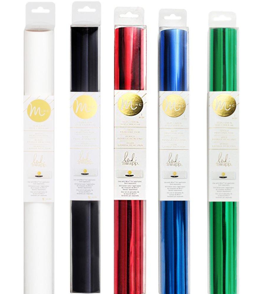 Minc Reactive Deco Foil - Transfer Sheets - Bundle of Five Colors - 12 inches x 10 feet Each, White, Black, Red, Blue, Green (WBRBG)