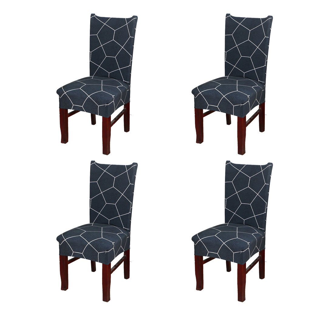 SoulFeel Set of 4 x Stretchable Dining Chair Covers, Spandex Chair Seat Protector Slipcovers for Holiday Banquet, Home Party, Hotel, Wedding Ceremony (Pentagon, Deep-blue)