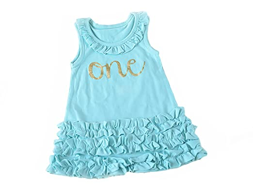 Amazon.com  Baby Girl Aqua First Birthday Outfit 6c582a8711
