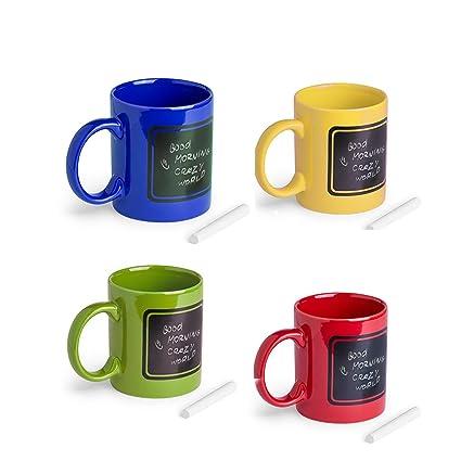 Lote de 12 tazas de cerámica de colores, con pizarra para ...