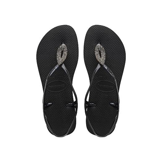 c837ba138fcf8 Havaianas Luna Special - Black Dark Grey (Synthetic) Womens Sandals 3 4