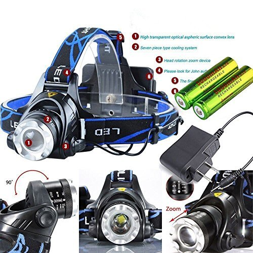 20000 Lumens LED Headlamp Flashlight Waterproof Rechargeable Zoomable Adjustable Focus Headlight Camping Hiking Hunting Running Working Sports 3 Switch Mode high/low/strobe 2 Batteries/Charger (Blue)