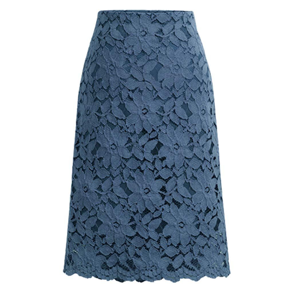Startview Women Lace Skirt A-Line Hollow Out Fitness Skirt Knee Length Plus Size Skirt by Startview