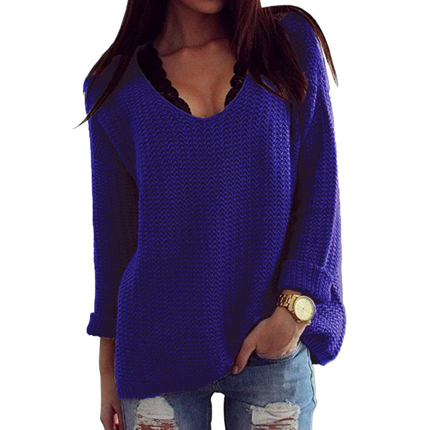Thanth Womens Casual Hollow Knit VNeck Blouse Pullover Loose Tops ...