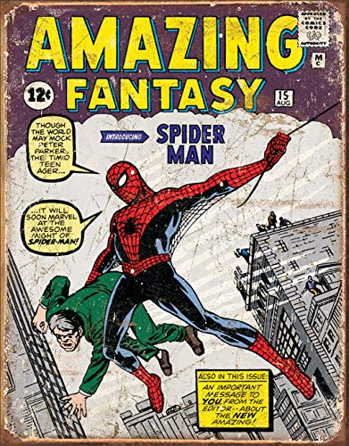 Desperate Enterprises Spider Man Comic Cover Tin Sign, 12.5