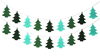 Christmas Garland Banner Felt Xmas Tree Shape Bunting Decoration For
