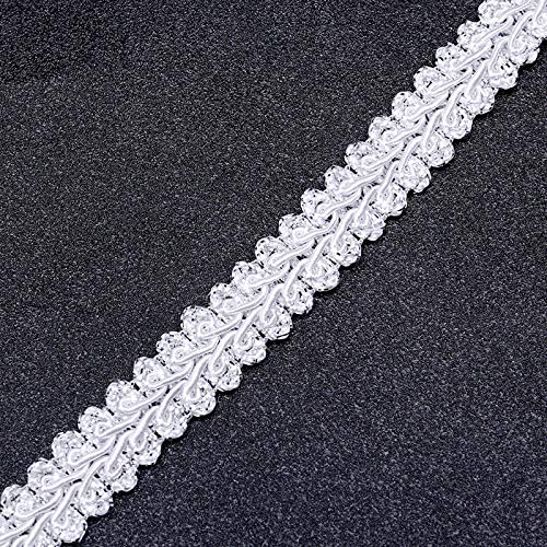 MOPOLIS 5M Centipede Braid Lace Ribbon Sewing Accessories DIY Curve Deco Polyester Yarn | Color - Silver+White