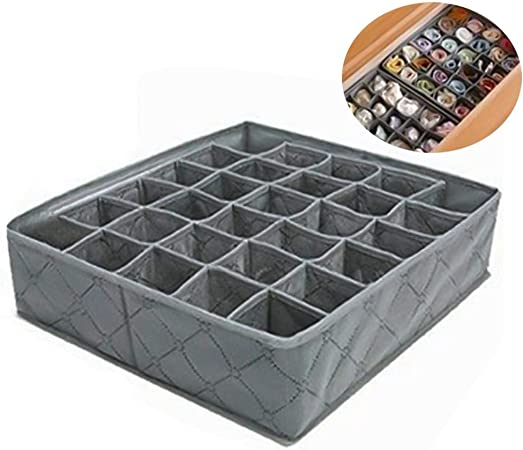 Leisial™ 30 Rejilla Caja de Almacenaje para Armarios Ropa Interior Calcetines Corbata Cajón Organizador Cesta Bras Gris (#1): Amazon.es: Hogar