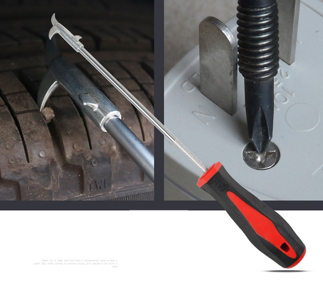 2-Piece 2 in 1 Car Tire Gap Thread Stones Cleaning Hooks &''-''''+'' Screwdrivers Tools