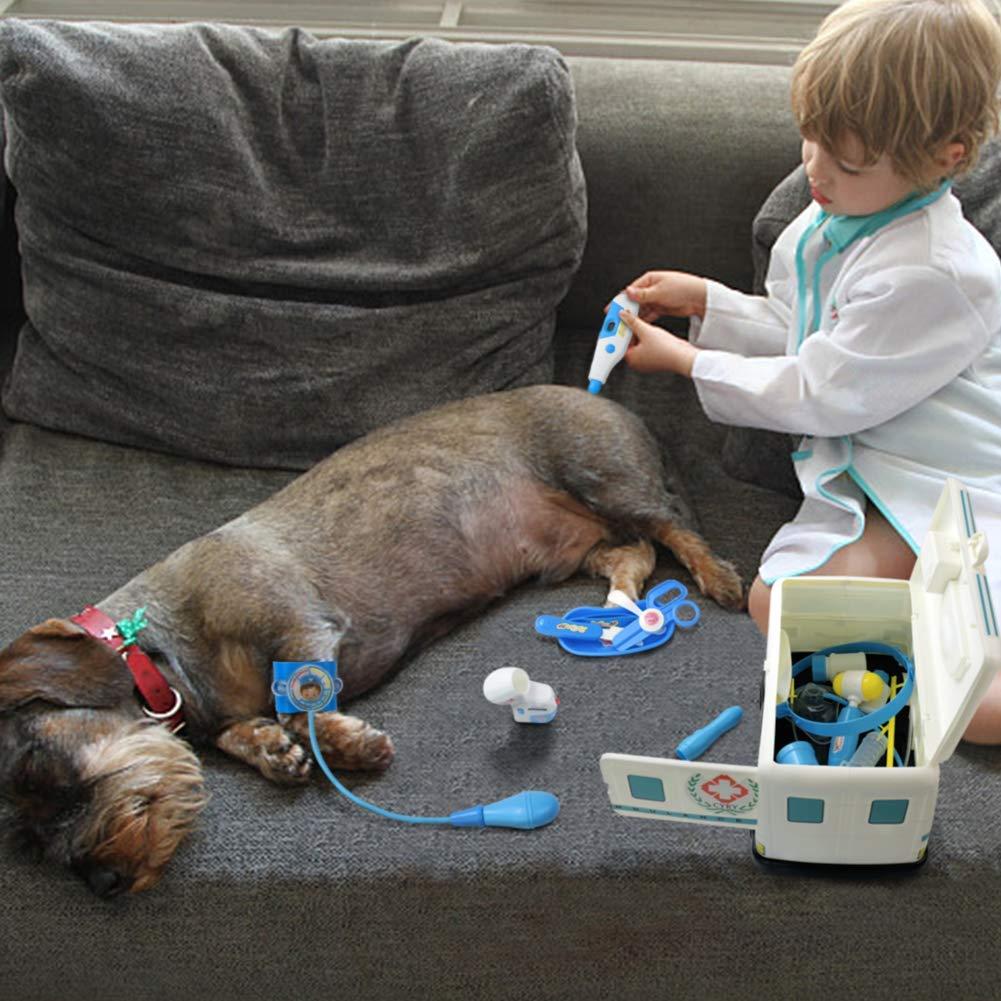 Malette Docteur Enfant Jouet Ambulance Kit Medecin Enfant Jeu de Rôle Valise Docteur 16 Pcs Jeu Imiter Docteur pour Bébé Enfants Garçon et Fille